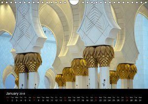 Abu Dhabi - Sheikh Zayed Grand Mosque (Wall Calendar 2018 DIN A4