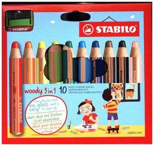STABILO woody 3 in 1 10er Etui mit Spitzer