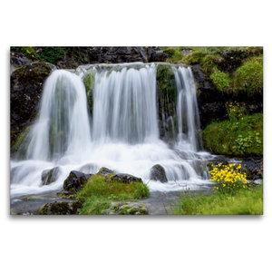 Premium Textil-Leinwand 120 cm x 80 cm quer Wasserfall am Dynjan