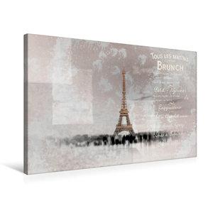 Premium Textil-Leinwand 75 cm x 50 cm quer PARIS Collage