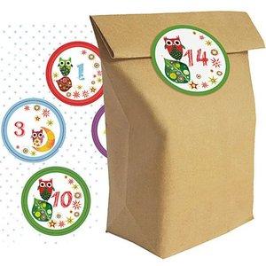 """Set aus 24 Adventskalender Tüten \""""Weihnachtseulen\"""""""