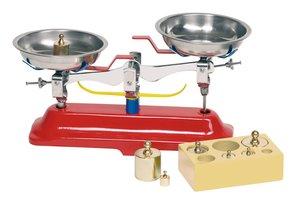 Goki 51891 - Waage, Metall Küchenwaage mit 7 Gewichten