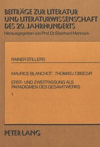 Maurice Blanchot: Thomas l\'Obscur