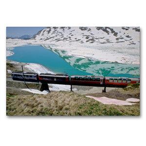 Premium Textil-Leinwand 90 cm x 60 cm quer Lago Bianco Stausee
