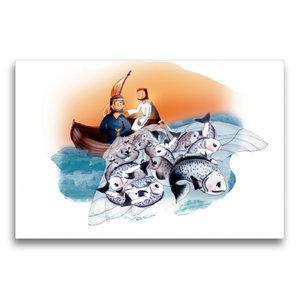 Premium Textil-Leinwand 75 cm x 50 cm quer Jesus hilft den Fisch