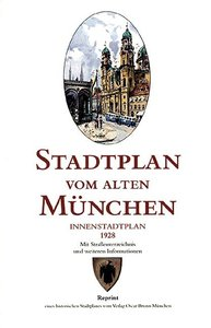 Stadtplan vom alten München. Innenstadtplan. Brunn