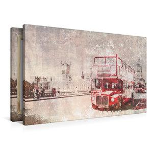 Premium Textil-Leinwand 90 cm x 60 cm quer City-Art LONDON Rote