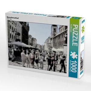 Menschenauflauf 1000 Teile Puzzle quer