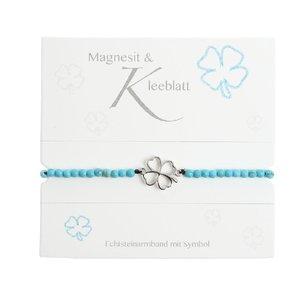 """Armband mit Echtsteinen Magnesit mit Symbol \""""Kleeblatt\"""""""