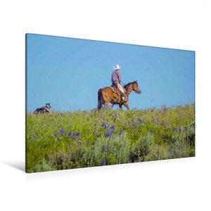 Premium Textil-Leinwand 120 cm x 80 cm quer Cowboy mit Hund und