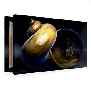 Premium Textil-Leinwand 75 cm x 50 cm quer Buddha und Yin Yang