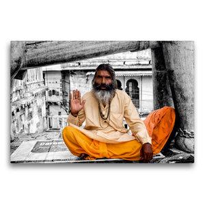 Premium Textil-Leinwand 75 cm x 50 cm quer Indien - heiliger Man