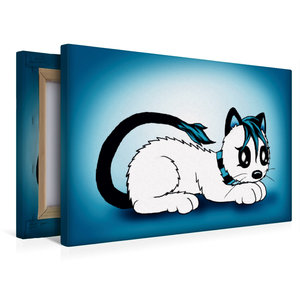 Premium Textil-Leinwand 45 cm x 30 cm quer Kätzchen blau