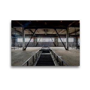 Premium Textil-Leinwand 45 cm x 30 cm quer Halle mit Förderbände