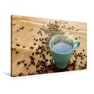 Premium Textil-Leinwand 90 cm x 60 cm quer Kaffee türkis