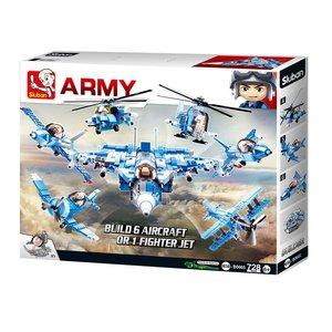Sluban ARMY M38-B0665 - Kampfjet 6in1 Kombi-Set, 728 Teile