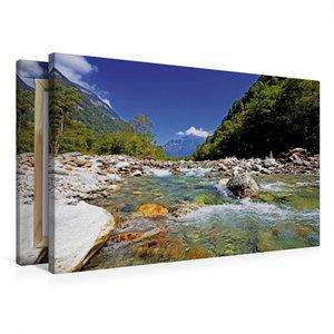 Premium Textil-Leinwand 75 cm x 50 cm quer Der Verzasca Fluss fl