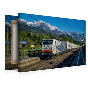 Premium Textil-Leinwand 45 cm x 30 cm quer Berg, Bahn und blauer