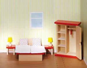 Goki 51715 - Puppenmöbel Schlafzimmer, goki basic. , Holz