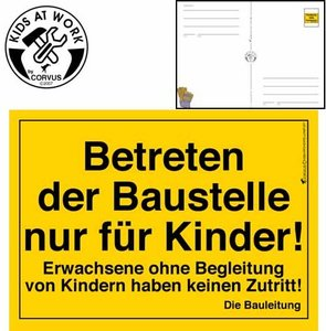 Corvus A600024 - Kids at work: Bauschild Postkarte