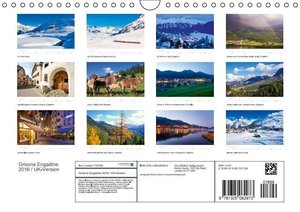 Grisons Engadine 2016 / UK-Version (Wall Calendar 2016 DIN A4 La