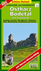 Radwander- und Wanderkarte Ostharz, Bodetal und Umgebung 1 : 35