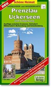 Radwander- und Wanderkarte Prenzlau, Uckerseen und Umgebung 1:50