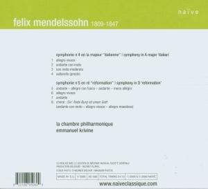 Sinfonien 4+5 (Italienne/Reformation)