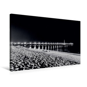 Premium Textil-Leinwand 75 cm x 50 cm quer Seebrücke bei Nacht