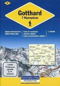 KuF Schweiz Digitale Wanderkarte 04 Gotthard -7 Alpenpässe 1 : 5