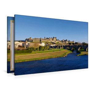 Premium Textil-Leinwand 120 cm x 80 cm quer Cité de Carcassonne