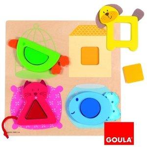 Goula D53128 - Formenpuzzle Haustiere mit Stoff, 8-teilig