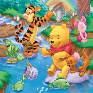Winnie beim Angeln. Puzzle 3 X 49 Teile - zum Schließen ins Bild klicken