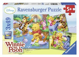 Winnie beim Angeln. Puzzle 3 X 49 Teile