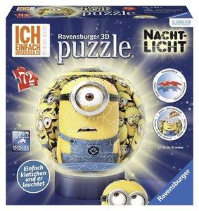 Nachtlicht Minions. 3D Puzzle-Ball 72 Teile