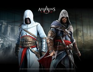 Assassins Creed Wallscroll / Banner - Altair & Ezio in Blackroom