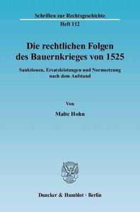Die rechtlichen Folgen des Bauernkrieges von 1525