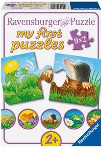Tiere im Garten. Puzzle 9 x 2 Teile