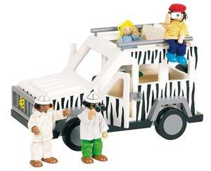 Goki 51864 - Biegepuppen Safari, 4 Puppen mit Jeep