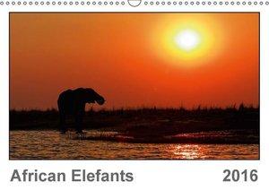 African Elefants (UK-Version) (Wall Calendar 2016 DIN A3 Landsca