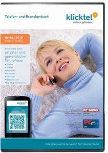 klickTel Telefon- und Branchenbuch Herbst 2015. Für Windows XP/V