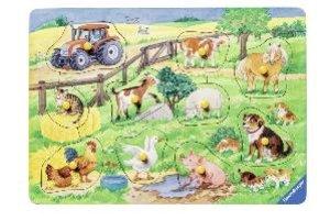 Niedliche Bauernhoftiere. Holzpuzzle 10 Teile