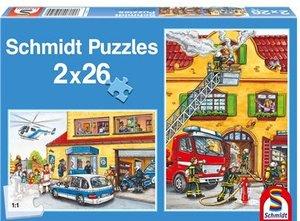 Schmidt Spiele 55050 - Feuerwehr und Polizei, 2 x 26 Teile Puzzl