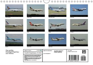 Das größte Passagierflugzeug - Die Airlines (Wandkalender 2017 D