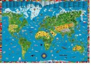 Illustrierte Weltkarte für Kinder und Erwachsene. Poster.