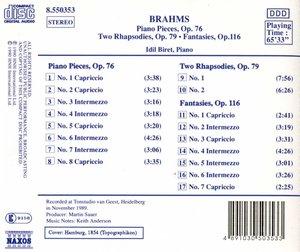 Klavierstücke op.76+79+116