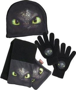 Dreamworks Dragon Winter 3er Set: Mütze, Handschuhe, Schal, schw