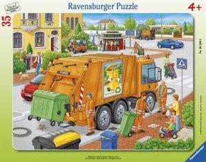 Müllabfuhr. Rahmenpuzzle 35 Teile