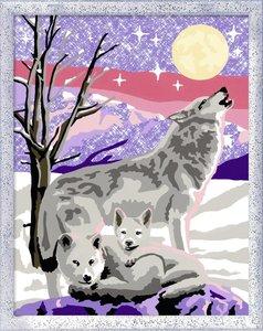 Wolfsfamilie. Malen nach Zahlen Serie Romantic