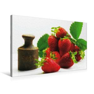 Premium Textil-Leinwand 75 cm x 50 cm quer Frische Erdbeeren